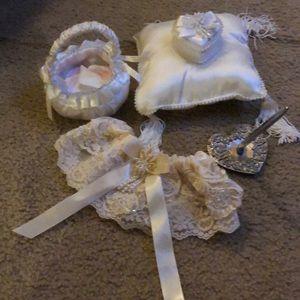 Ring bearer pillow, flower girl basket, garter